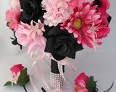 "17 Piece Package Wedding Bridal Bride Maid Of Honor Bridesmaid Bouquet Boutonniere Corsage Silk Flower FUCHSIA BLACK ""Lily of Angeles PIBK02"