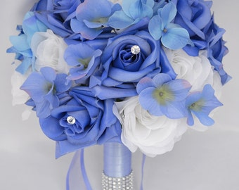 """17pcs Wedding Bridal Bouquet Silk Flower Decoration Package PERIWINKLE WHITE """"Lily of Angeles"""""""