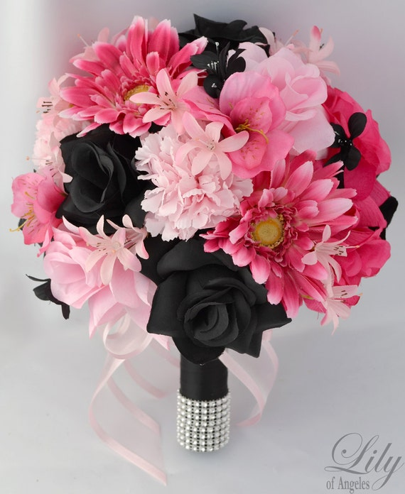 "17pcs Wedding Bridal Bouquet Silk Flower Decoration Package PINK FUCHSIA BLACK ""Lily of Angeles"""