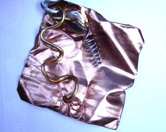 Upcycled Crumpled Copper Sheet & Squiggly Wires Pendant