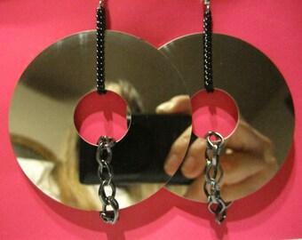 Repurposed Hard Drive & Chains Earrings