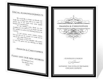 Wedding Program Template Printable INSTANT DOWNLOAD Damask