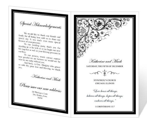 Wedding Program Template Printable - INSTANT DOWNLOAD - Ornamental Design