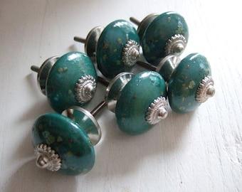 Set of 6  Turquoise Speckled Ceramic Cabinet Knob