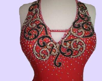 Red Tango  Dress     Red Lace Halter Latin Dress