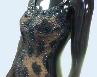Black Dance Latin Dress with black lace and Swarovski Crystals