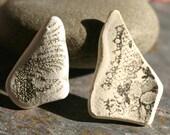 White & Black Design Beach Pottery. Undriiled