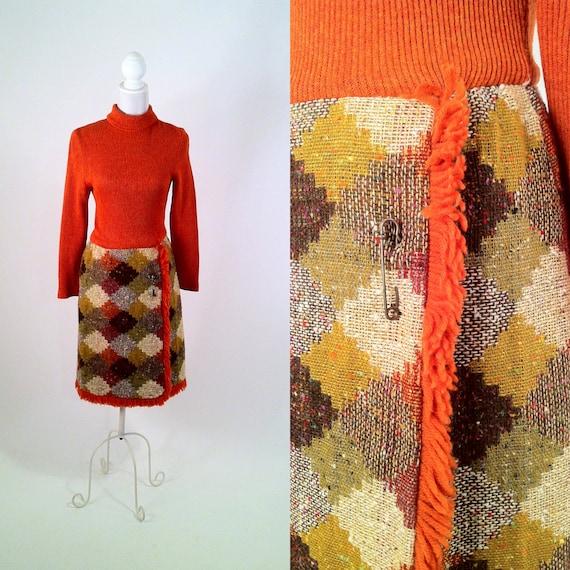 Vintage 1960s Orange Mod Sweater Dress with Scottish Kilt Pin - Wool and Acrylic