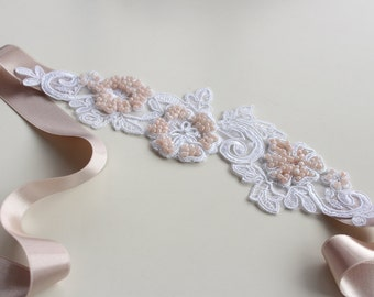 Lace Bridal Headband, Powder Ecru Pink, Blush Satin Ribbon, Pale Dogwood Venetian Lace Applique Beaded, Romantic Wedding Clothing