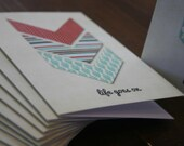 Chevron Inspirational Greeting Card - Life Goes On - Teal Blue Cream