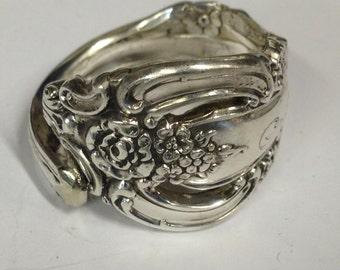 1970 Silver Artistry Pattern Silverware Spoon Ring Handmade Vintage Silverplate 498