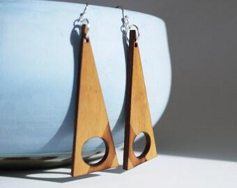 Laser Cut Cherry Wood Earrings