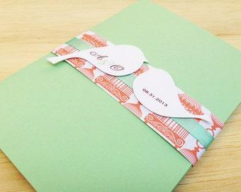 Birdcage wedding invitation. Mint & Coral Wedding Invitation, Lovebirds Invitation - Sample