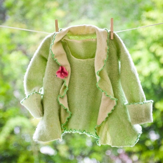 Girls Pure Cashmere Tank Top and Cardigan Set, Mint Green Repurposed Spring Fashion Coordinated Twin Set, Luxury Childrens Sweater