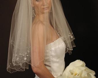 Hand-embroidered wedding veil - scallop edge wedding veil - hand beaded edge bridal veil- WV138