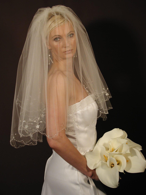 Hand embroidered wedding veil scallop edge