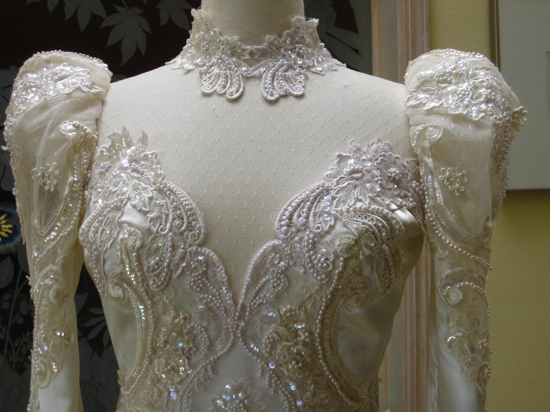Reserved For Sachiyo 80s Ivory Wedding Dress Vintage