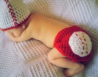 Baby Baseball Hat Handmade Crochet Baseball Cap Beanie and Diaper Cover Newborn Photo