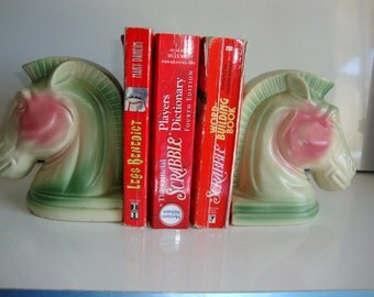 Roman Trojan Vintage Bookends, Horse Heads Ceramic Bookends, Pair Bookends, Colorful Horse Heads Book Ends