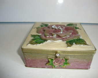Vintage Jewelry Box,  Trinket box, Enameled Top and sides Box, Flower on Top and Front Side