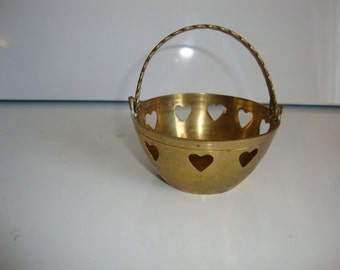 Brass Basket,  Brass Dish, Small Brass Bowl, Candy Tray, Heart Cutout Design Decorated, Dish with Handle