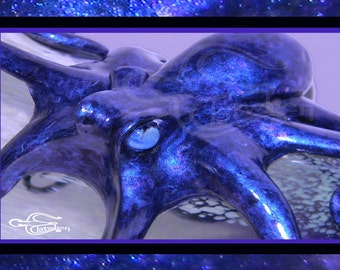 Kraken Card, The Deep Seafire Kraken,  Original Artwork and Photography by Elstwhen.