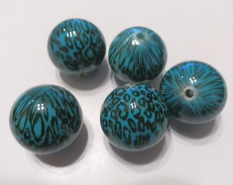 5 Turquoise  Leopard Acrylic Round Beads 25mm