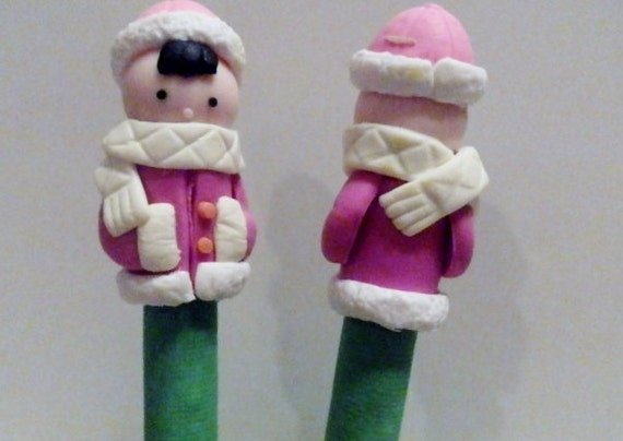 New Cute Polymer Clay Fimo Winter  Coat Boy Pen