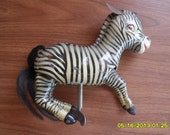 Antique Vintage Tin Windup Toy, bouncing jumping Zebra, key included, works