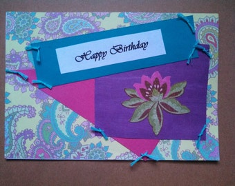 Paisley with Pink Purple andTeal Birthday card