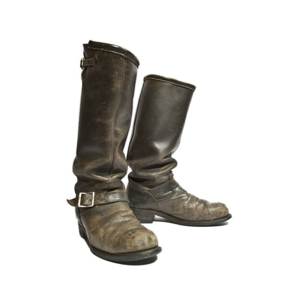 Vintage Engineer Boots Tall Distressed Biker Boots Black