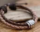 Personalised Nude Scroll Tie Bracelet - scroll bracelet, silver and leather bracelet, male leather bracelet, gift for boyfriend