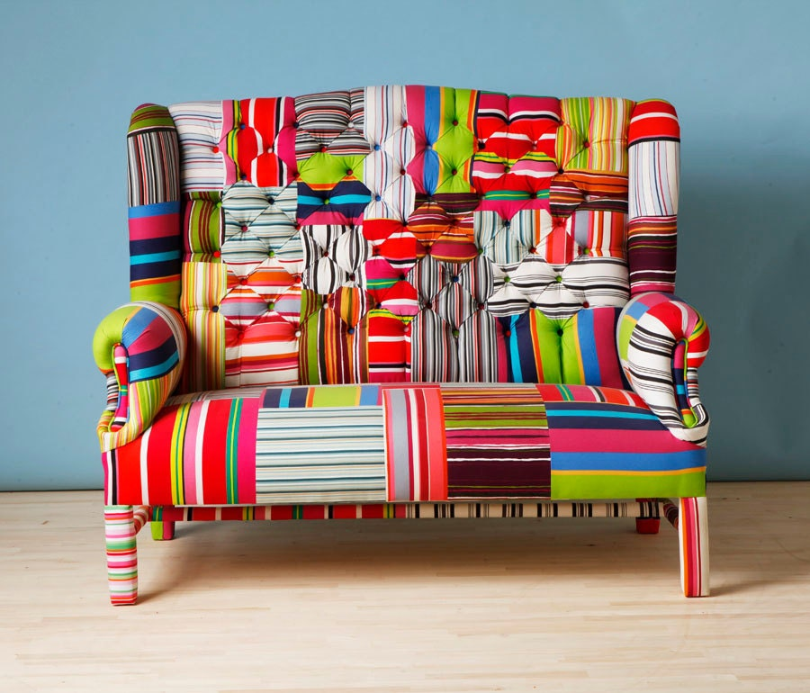 Striped wing patchwork sofa for Sofa patchwork