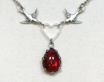 Vintage Ruby Teardrop with Antiqued Silver Birds and Heart Necklace
