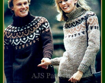 PDF Knitting Pattern Fair Isle or Nordic Polo Necked Sweater  - His & Hers - Instant Download