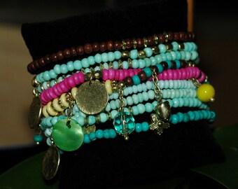 Stretch Bracelet, Dangle Bracelet, Colorful multi strand Bracelet, Gift for her, layered bracelet