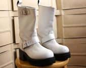 "Muro sz 7 white leather engineer boot 2 1/2"" heel"