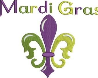Mardi Gras Embroidery Design, Fleur de Lis, New Orleans, Fat Tuesday,  Machine Embroidery Design