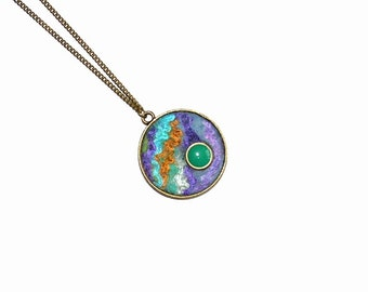 Felted Jewelry Violet Blue Mint Gold Green Round Pendant with green drop OOAK