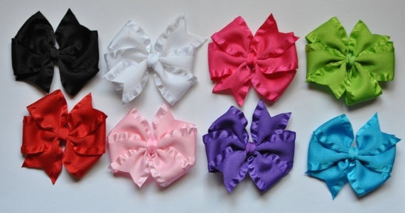 Double Ruffle Satin Hair bow set- 8 piece set