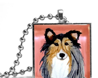 Sheltie in Pink Necklace