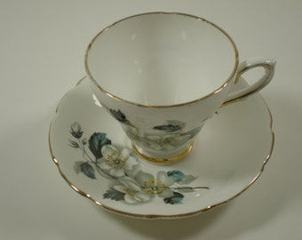 Vintage Teacup and Saucer // White with Dogwood Blossoms  // Royal Kendall