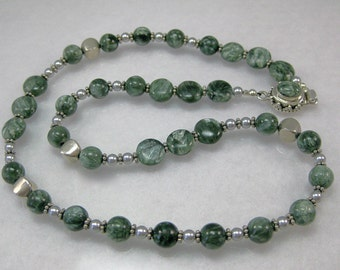 Seraphinite, crystal pearls and sterling silver necklace: charity donation