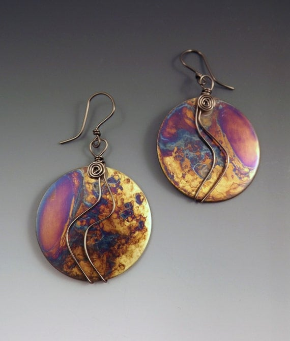 Blue Purple Patina- One of a Kind- Brass Disc Earrings- Large