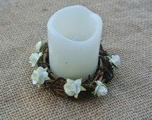 Fall Wedding Decor, Rustic Vine Candle Rings, Country Wedding Decor, Bridal Shower Gift, 2 Candle Rings