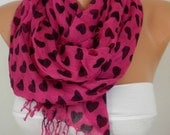 Hot Pink Heart Print Scarf Winter Scarf Shawl Women Scarves Gift Ideas For Her Women Fashion Accessories Women Scarves Christmas Gift
