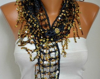 Gold Sequin Scarf -Floral - Women Shawl Scarf - Bellydance - Cowl Scarf Lace Scarf -   fatwoman