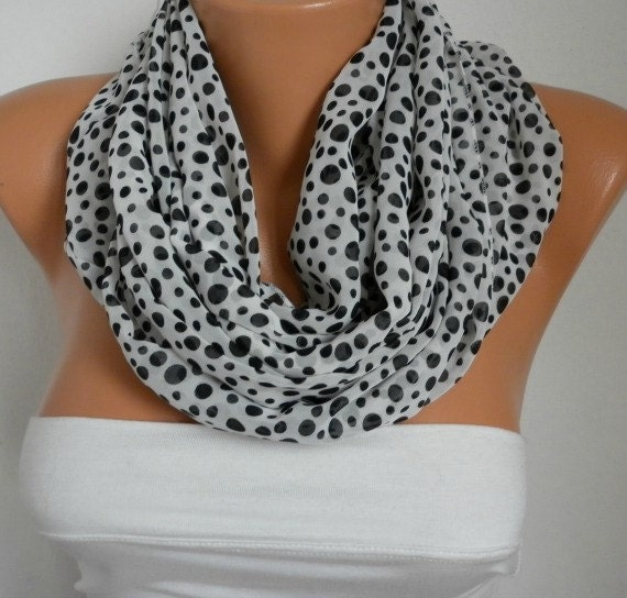White Black Polka Dot Infinity Scarf Christmas Gift Chiffon Easter Circle Loop Scarf Gift Ideas For Her Women Fashion Accessories