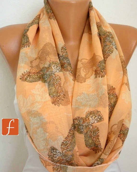 ON SALE - Owls Scarf Infinity Scarf Shawl Circle Scarf Loop Scarf Gift - for her - fatwoman