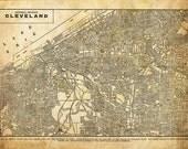 Cleveland Ohio Street Map Vintage Sepia Grunge Print Poster